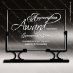 Jaeger Landscape Glass Black Accented Rectangle Vintage Stand Trophy Award Square Rectangle Shaped Glass Awards