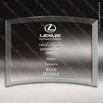 Tomerlin Curve Glass Jade Accented Rectangle Beveled Curved Trophy Award Square Rectangle Shaped Glass Awards