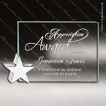 Tonetti Star Glass Jade Accented Rectangle Chrome Star Stand Trophy Award Square Rectangle Shaped Glass Awards