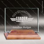 Tupel Landscape Glass Walnut Accented Rectangle Trophy Award Square Rectangle Shaped Glass Awards