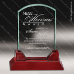 Pala Wellington Glass Rosewood Accented Rectangle Arch Trophy Award Square Rectangle Shaped Glass Awards