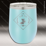 Engraved Stainless Steel 12 Oz. Stemless Wine Glass Lt Blue Double Insulate Stainless 12 Oz. Stemless Wine Glasses