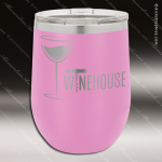Engraved Stainless Steel 12 Oz. Stemless Wine Glass Lt Purple Double Insula Stainless 12 Oz. Stemless Wine Glasses