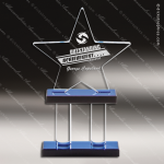 Acrylic Blue Accented Pillar Series Star Trophy Award Star Acrylic Awards