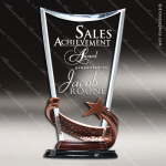 Acrylic Metal Accented Resin Star Clear Triangle Fan Shaped Trophy Award Star Acrylic Awards