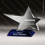 Crystal Blue Accented Rock Star Trophy Award Star Shaped Crystal Awards