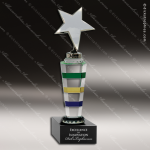Crystal Black Accented Striped Star Tower Trophy Award Star Shaped Crystal Awards