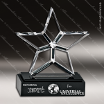 Crystal Black Accented Broadway Star Trophy Award Star Shaped Crystal Awards