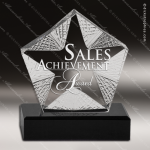 Crystal Black Accented Texture Star Trophy Award Star Shaped Crystal Awards