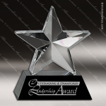Crystal Black Accented Star Trophy Award Star Shaped Crystal Awards