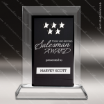 Crystal Black Accented Rectangle Multi Star Trophy Award Star Shaped Crystal Awards