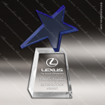 Crystal Blue Accented Shooting Star Trophy Award Star Shaped Crystal Awards