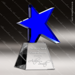 Crystal Blue Accented Meteor Star Trophy Award Star Shaped Crystal Awards