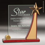Glass  Rosewood Accented Star Rectangle Trophy Award Star Shaped Glass Awards