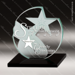 Glass Black Accented Circle Star Stellar Discovery Trophy Award Star Shaped Glass Awards