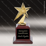 Cast Gold Metal Star on High Gloss Rosewood Base Trophy Award Star Themed Trophy Awards
