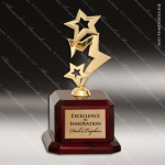 Cast Metal Rosewood Accented Gold Metal Rising Star Award Star Themed Trophy Awards