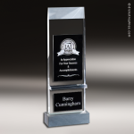 Crystal Black Accented Mika Trophy Award Star Trophy Awards