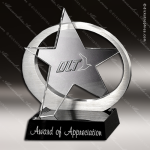 Crystal Black Accented Exposure Star Glass Trophy Award Star Trophy Awards