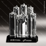 Crystal Black Accented Prominence Crystal Trophy Award Star Trophy Awards