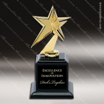 Cast Gold Metal Star on High Gloss Black Base Trophy Award Star Trophy Awards