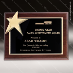 Engraved Rosewood Plaque Piano Finish Star Wall Placard Award Star Trophy Awards
