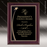 Engraved Rosewood Plaque Shooting Star  Black Plate Wall Placard Award Star Trophy Awards