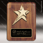 Engraved Walnut Plaque Star Black Plate Gold Border Wall Placard Award Star Trophy Awards