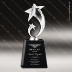 Star on Black Crystal Base - Silver Star Trophy Awards