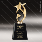 Star on Black Crystal Base - Gold Star Trophy Awards