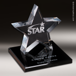 Crystal Black Accented Tapered Star on Base Trophy Award Star Trophy Awards