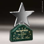 Crystal Green Marble Accented Verdant Star Trophy Award Star Trophy Awards