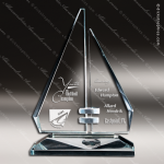 Glass Jade Accented Triangle Sail Horizon Trophy Award Starphire Accented Glass Awards