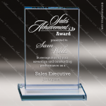 Glass Blue Accented Rectangle Honors Trophy Award Starphire Accented Glass Awards