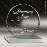 Glass Silver Accented Circle Leverage Trophy Award Starphire Accented Glass Awards