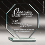 Glass Silver Accented Octagon Octennial Trophy Award Starphire Accented Glass Awards