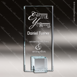 Glass Silver Accented Rectangle Citadel Trophy Award Starphire Accented Glass Awards