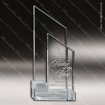 Glass Jade Accented Triangle Angled Upright Trophy Award Starphire Accented Glass Awards