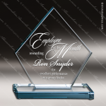 Glass Blue Accented Triangle Bay Trophy Award Starphire Accented Glass Awards