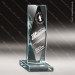 Glass Jade Accented Rectangle Captive Diamond Trophy Award Starphire Accented Glass Awards