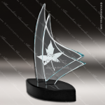 Glass Black Accented Triangle Breeze II Trophy Award Starphire Accented Glass Awards