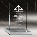 Glass Silver Accented Rectangle Aptitude Trophy Award Starphire Accented Glass Awards