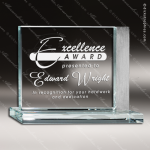Glass Silver Accented Rectangle Emphasize Trophy Award Starphire Accented Glass Awards