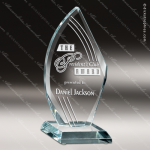 Glass Jade Accented Flame Starphire Dash Trophy Award Starphire Accented Glass Awards
