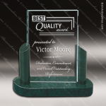 Glass Jade Accented Rectangle Imperial Accolade Trophy Award Stone Accented Glass Awards