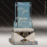 Glass Stone Accented Rectangle Express Trophy Award Stone Accented Glass Awards