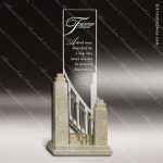 Glass Stone Accented Rectangle Interlude Trophy Award Stone Accented Glass Awards