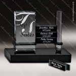 Glass Black Accented Rectangle Honor Board Trophy Award Stone Accented Glass Awards