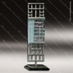 Glass Silver Accented Rectangle Junction Trophy Award Stone Accented Glass Awards
