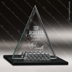 Glass Black Accented Triangle Pyramid Weave Trophy Award Stone Accented Glass Awards
